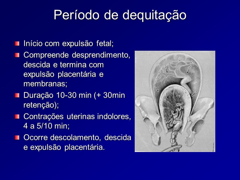 Período de dequitação Início com expulsão fetal;