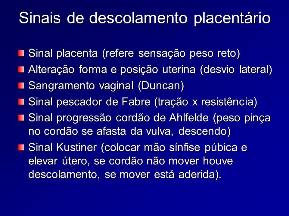Sinais de descolamento placentário