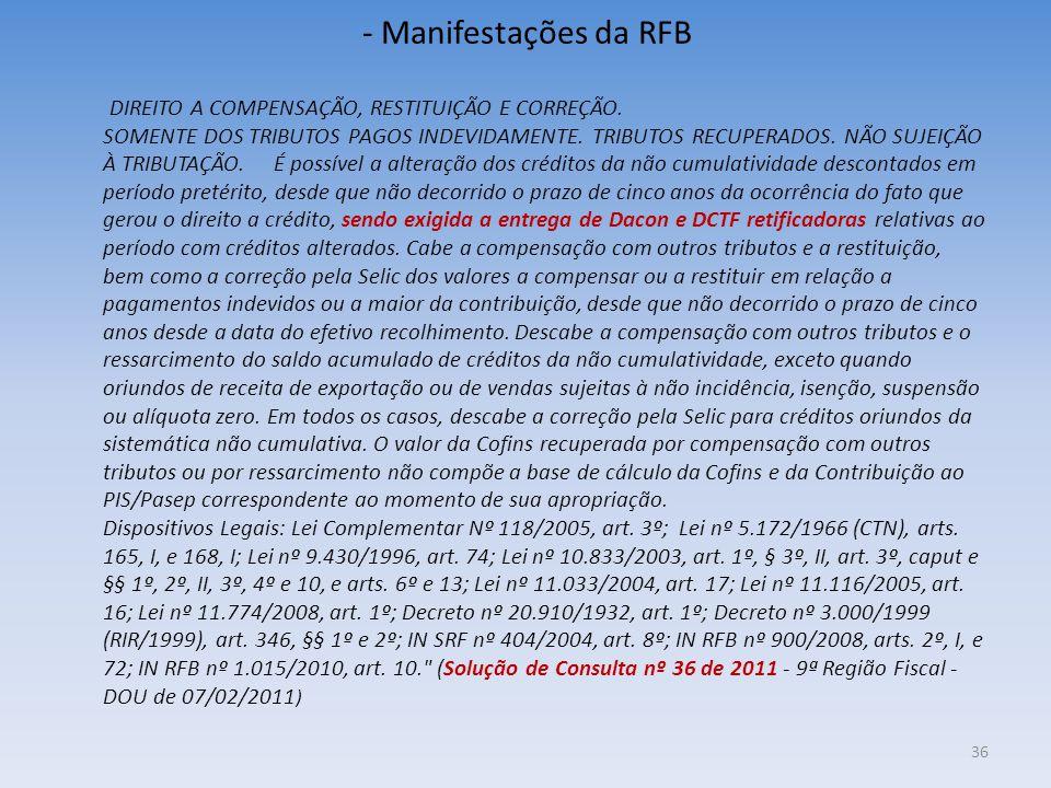 - Manifestações da RFB