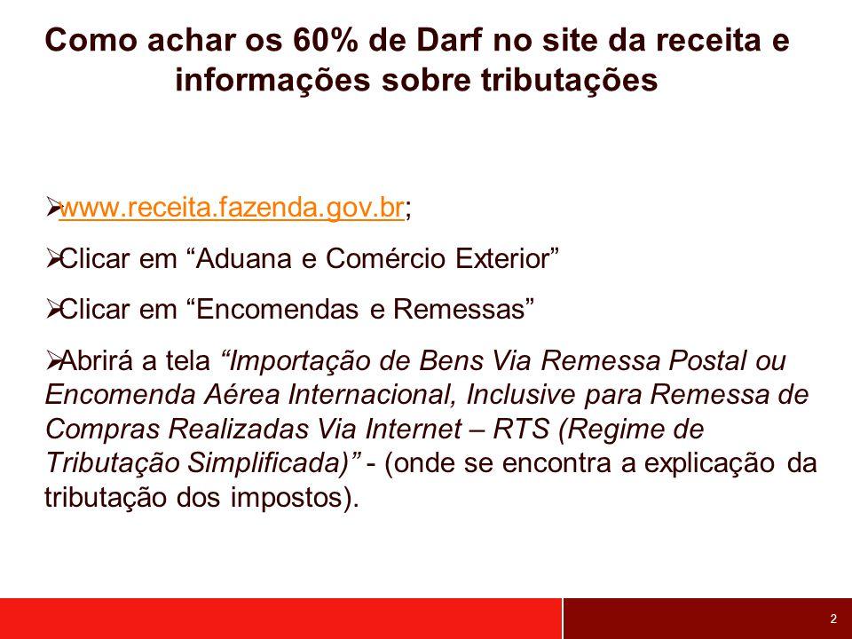 Como achar os 60% de Darf no site da receita e informações sobre tributações