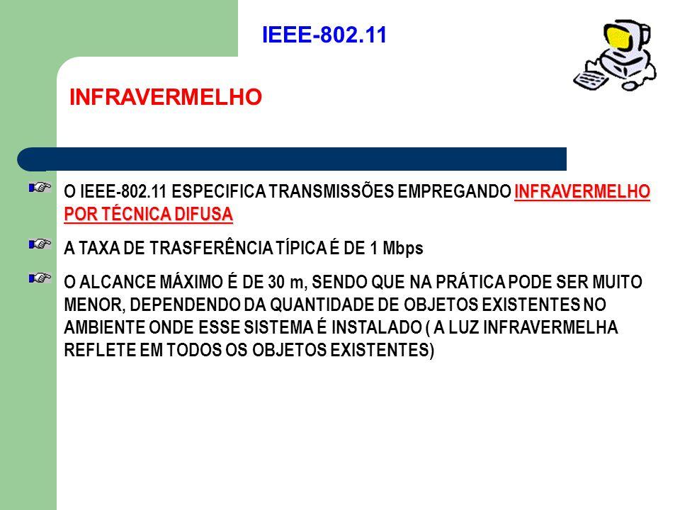 IEEE-802.11 INFRAVERMELHO. O IEEE-802.11 ESPECIFICA TRANSMISSÕES EMPREGANDO INFRAVERMELHO POR TÉCNICA DIFUSA.