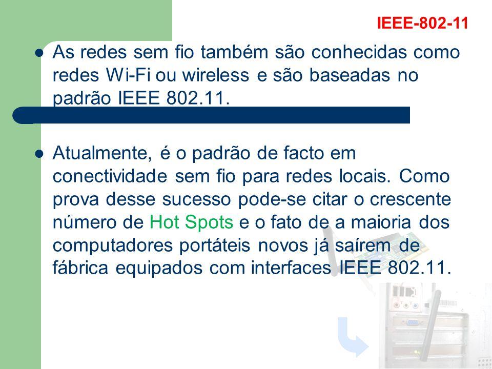IEEE-802-11 As redes sem fio também são conhecidas como redes Wi-Fi ou wireless e são baseadas no padrão IEEE 802.11.
