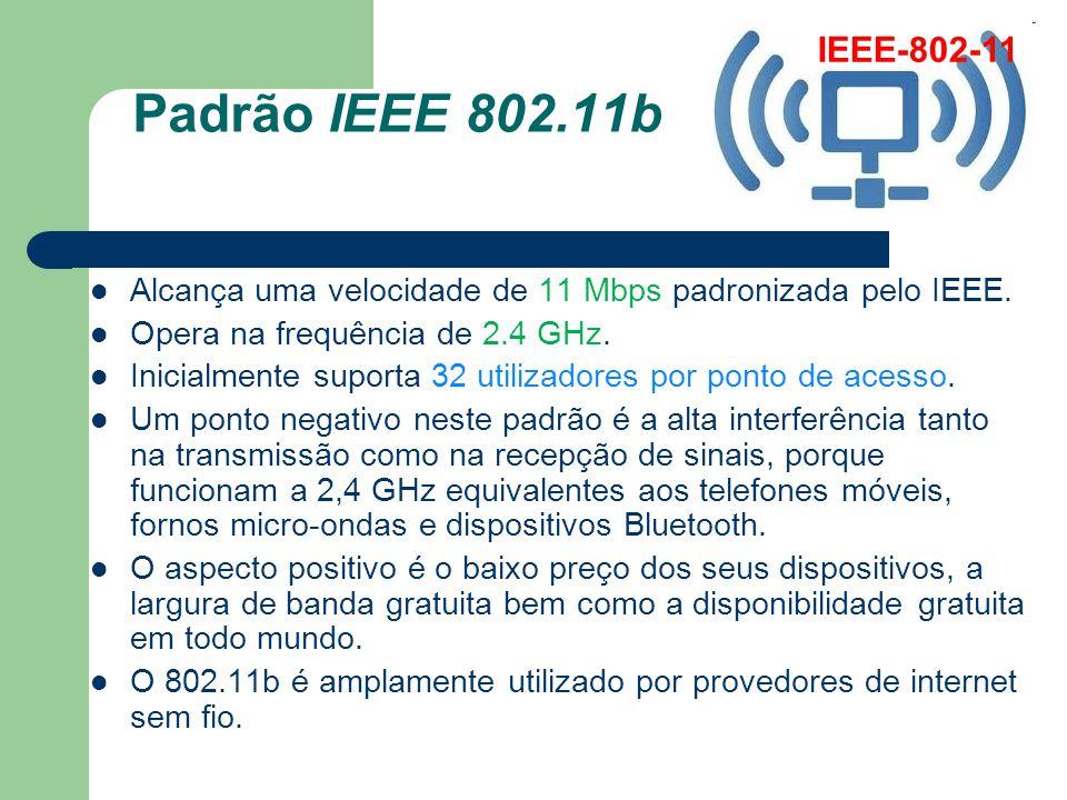 IEEE-802-11 Padrão IEEE 802.11b. Alcança uma velocidade de 11 Mbps padronizada pelo IEEE. Opera na frequência de 2.4 GHz.