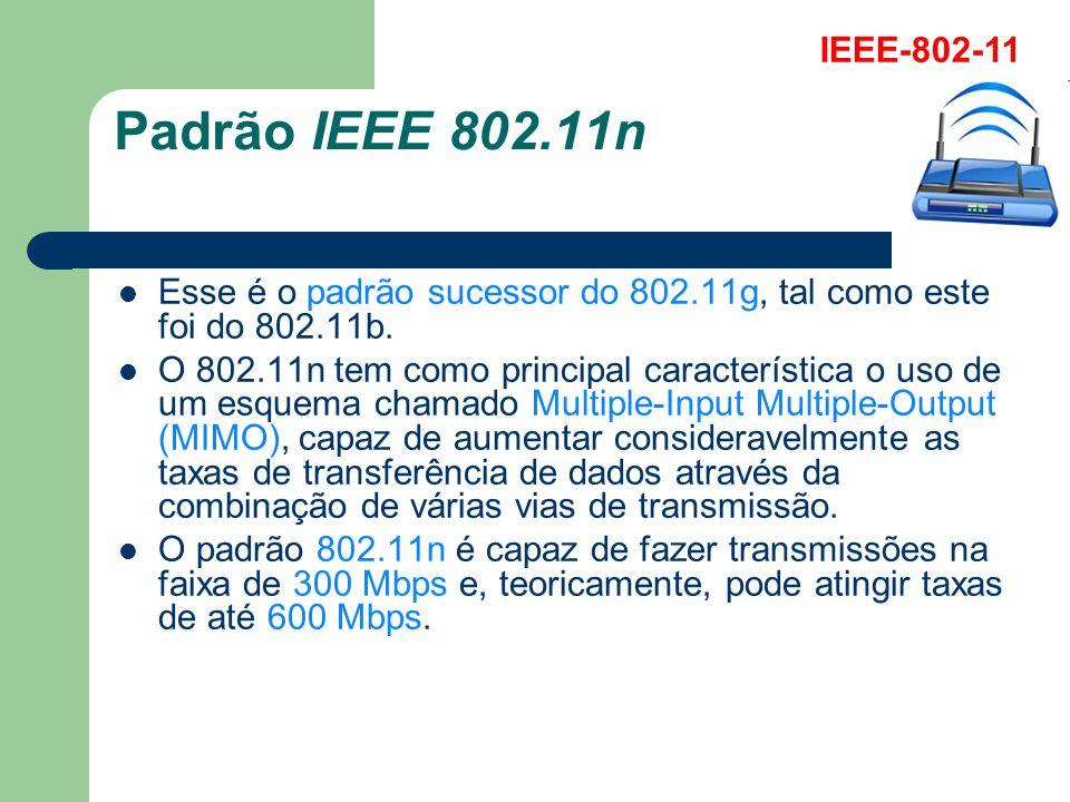 IEEE-802-11 Padrão IEEE 802.11n. Esse é o padrão sucessor do 802.11g, tal como este foi do 802.11b.