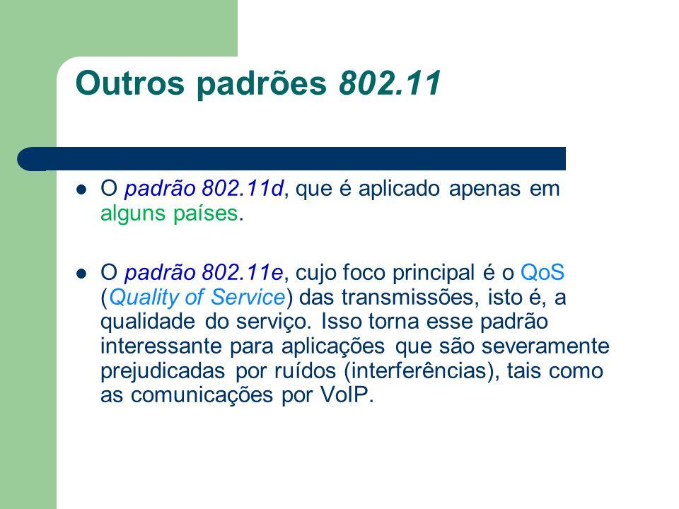 Outros padrões 802.11 O padrão 802.11d, que é aplicado apenas em alguns países.