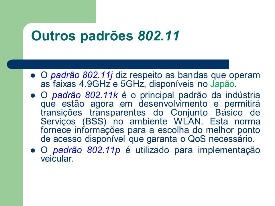 Outros padrões 802.11 O padrão 802.11j diz respeito as bandas que operam as faixas 4.9GHz e 5GHz, disponíveis no Japão.