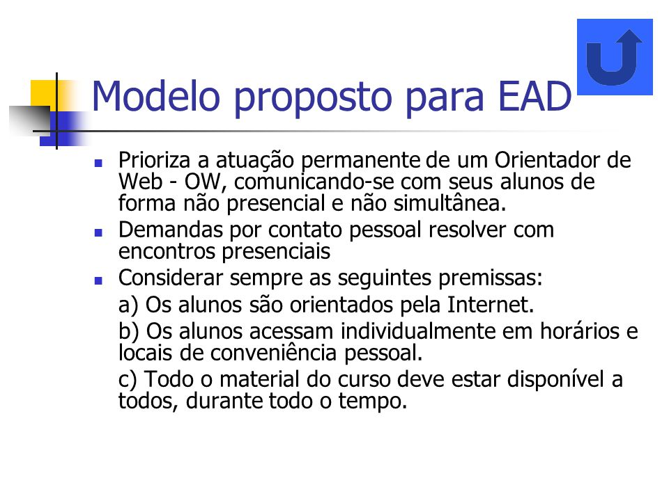 Modelo proposto para EAD