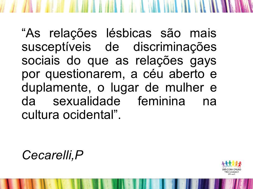 As relações lésbicas são mais susceptíveis de discriminações sociais do que as relações gays por questionarem, a céu aberto e duplamente, o lugar de mulher e da sexualidade feminina na cultura ocidental .