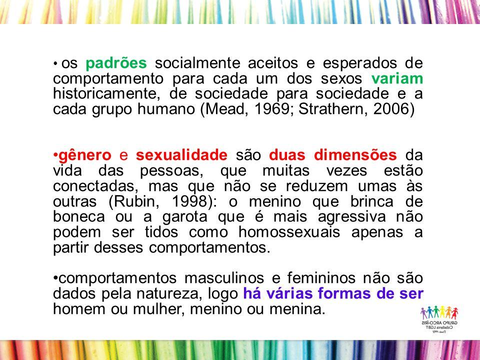 os padrões socialmente aceitos e esperados de comportamento para cada um dos sexos variam historicamente, de sociedade para sociedade e a cada grupo humano (Mead, 1969; Strathern, 2006)