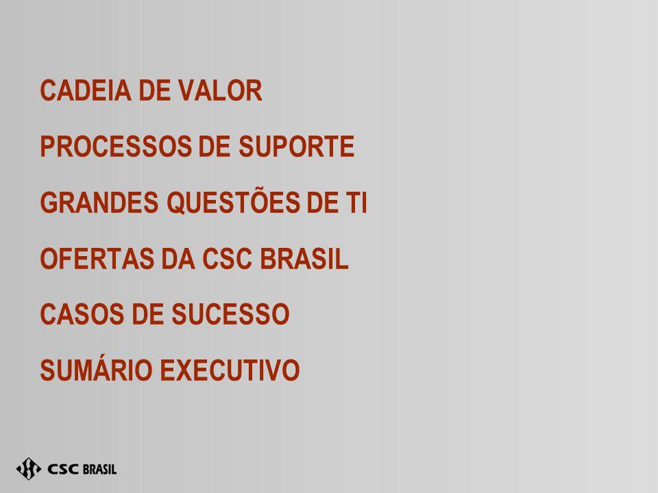 CADEIA DE VALOR PROCESSOS DE SUPORTE GRANDES QUESTÕES DE TI