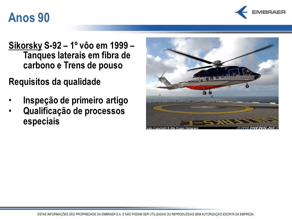Anos 90 Sikorsky S-92 – 1º vôo em 1999 – Tanques laterais em fibra de carbono e Trens de pouso. Requisitos da qualidade.