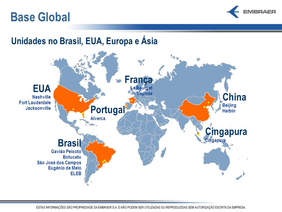 Base Global França EUA China Portugal Cingapura Brasil