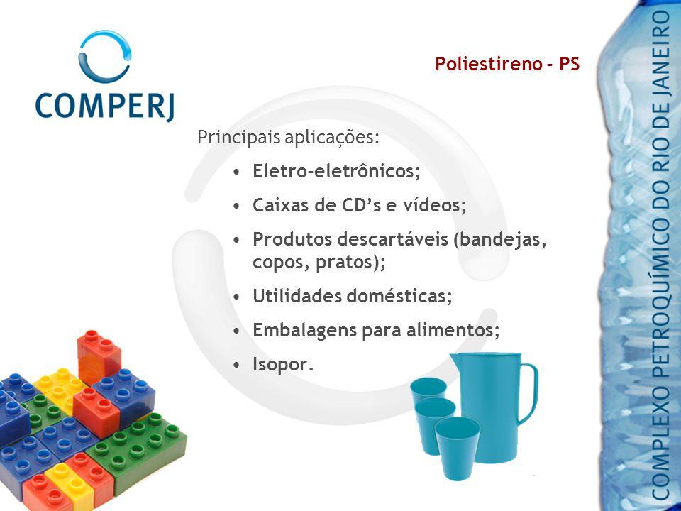 Poliestireno - PS Principais aplicações: Eletro-eletrônicos; Caixas de CD's e vídeos; Produtos descartáveis (bandejas, copos, pratos);