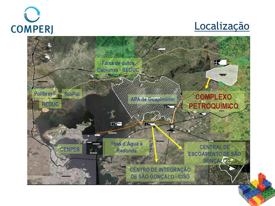 Localização COMPLEXO PETROQUÍMICO Faixa de dutos Cabiunas - REDUC