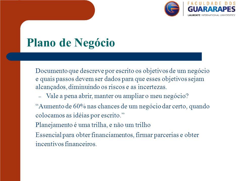 Plano de Negócio Documento que descreve por escrito os objetivos de um negócio. e quais passos devem ser dados para que esses objetivos sejam.