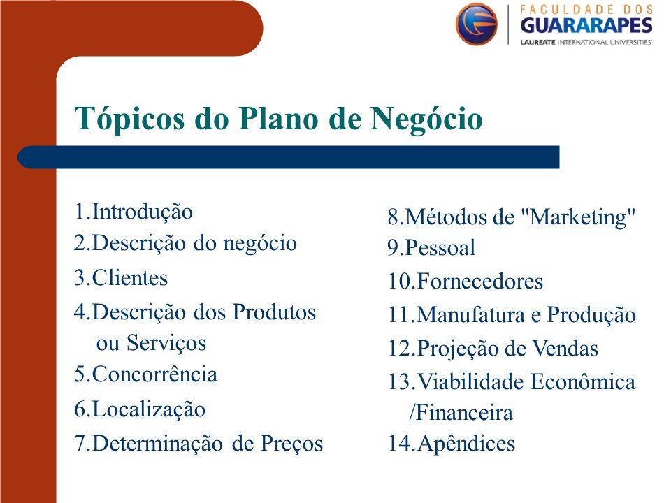 Tópicos do Plano de Negócio