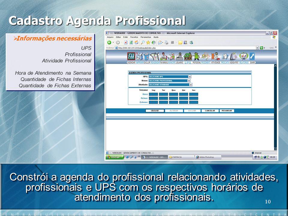 Cadastro Agenda Profissional