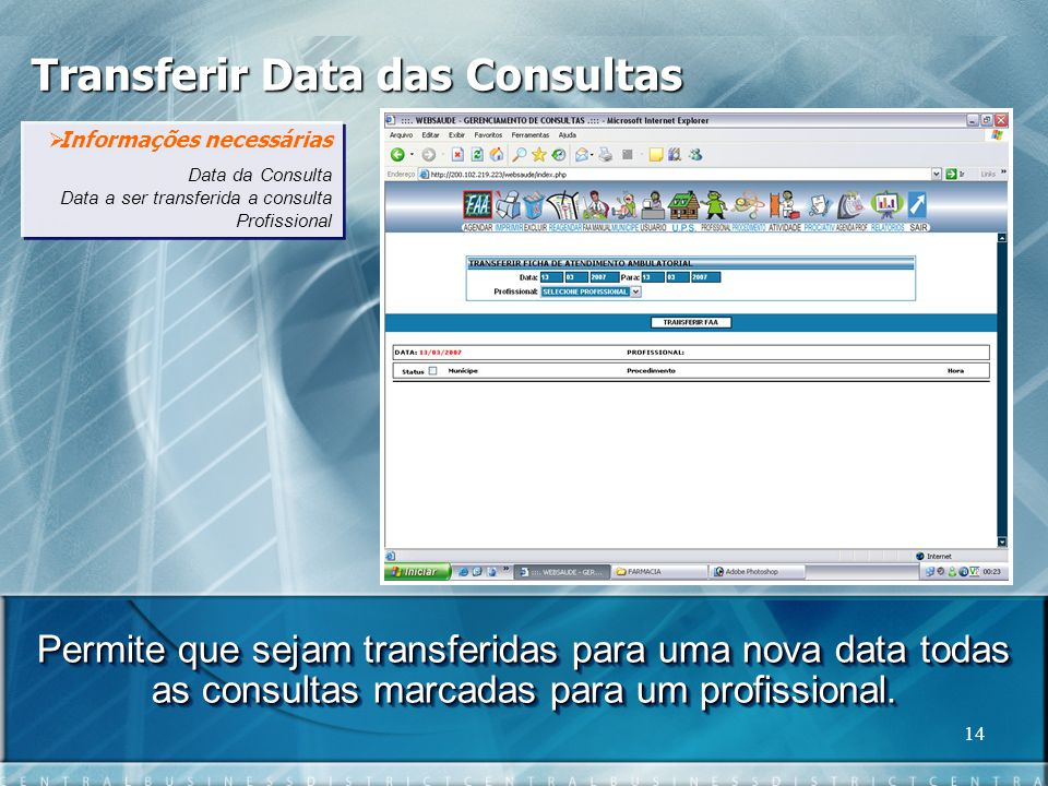 Transferir Data das Consultas
