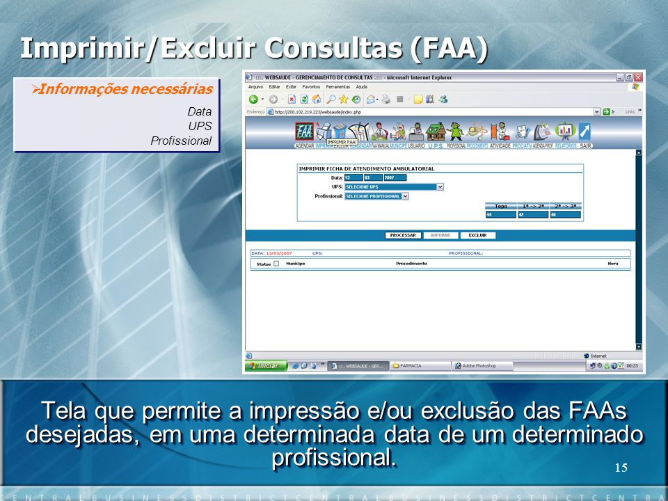 Imprimir/Excluir Consultas (FAA)
