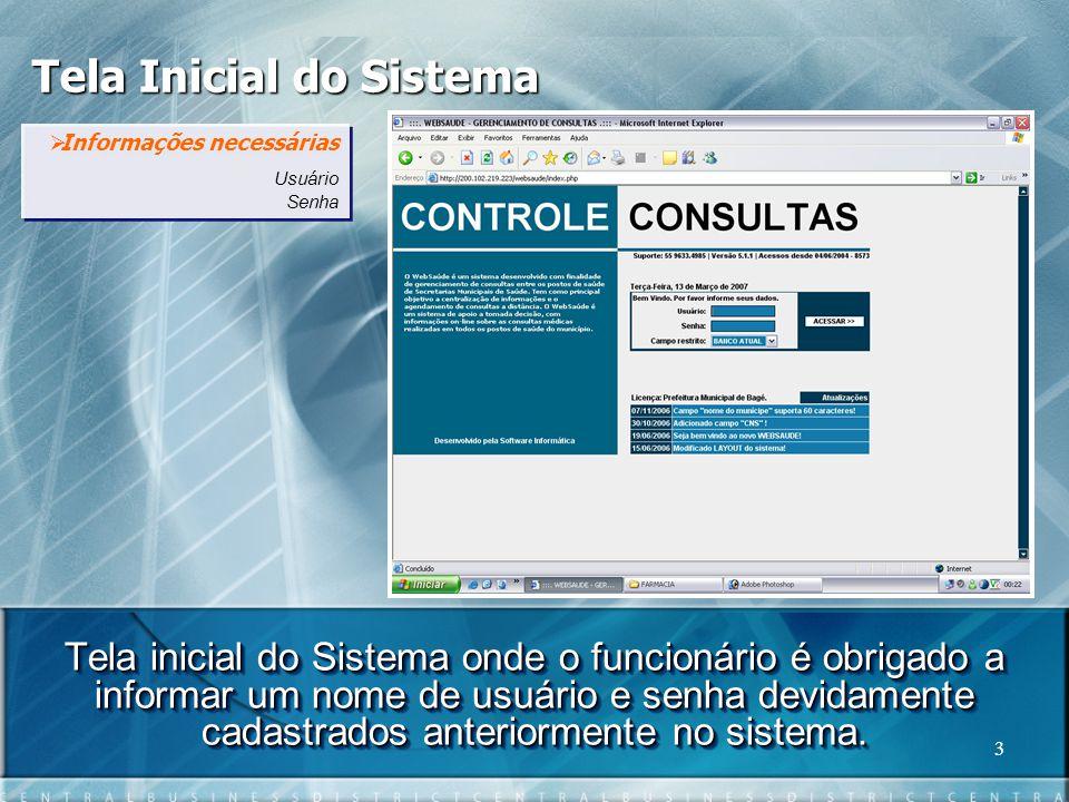 Tela Inicial do Sistema