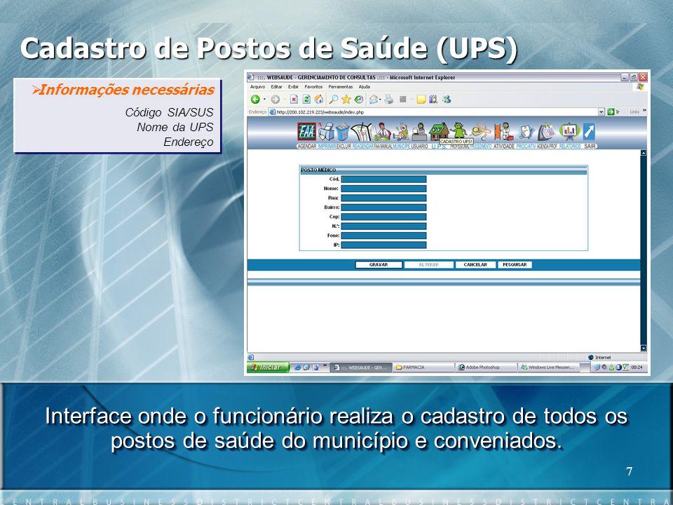 Cadastro de Postos de Saúde (UPS)