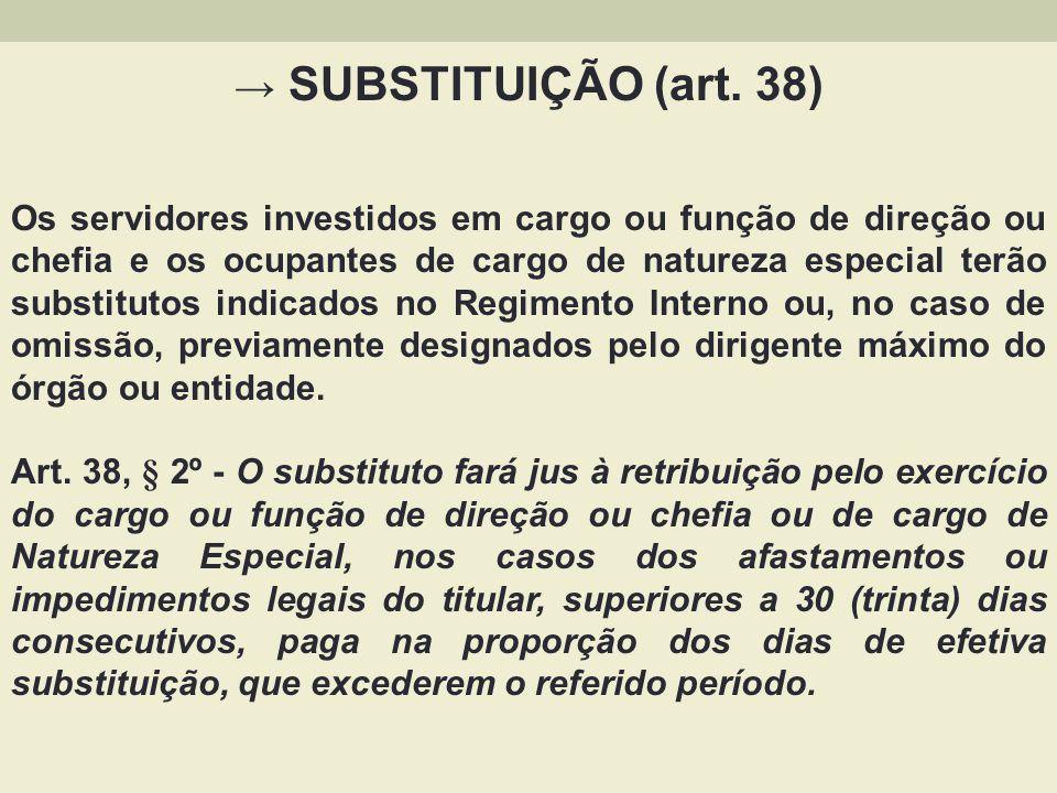→ SUBSTITUIÇÃO (art. 38)