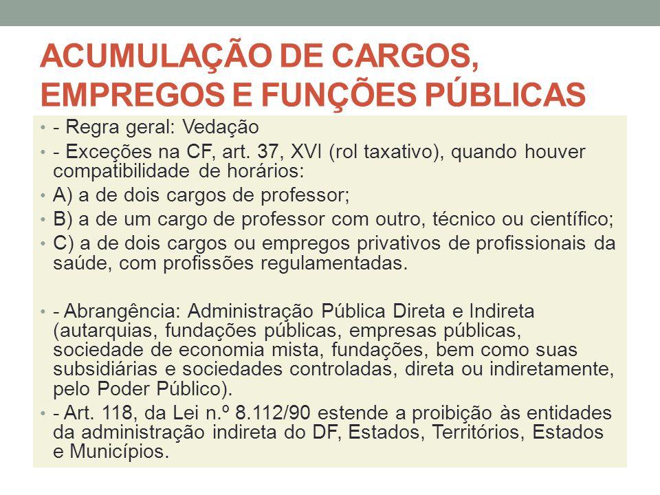 ACUMULAÇÃO DE CARGOS, EMPREGOS E FUNÇÕES PÚBLICAS