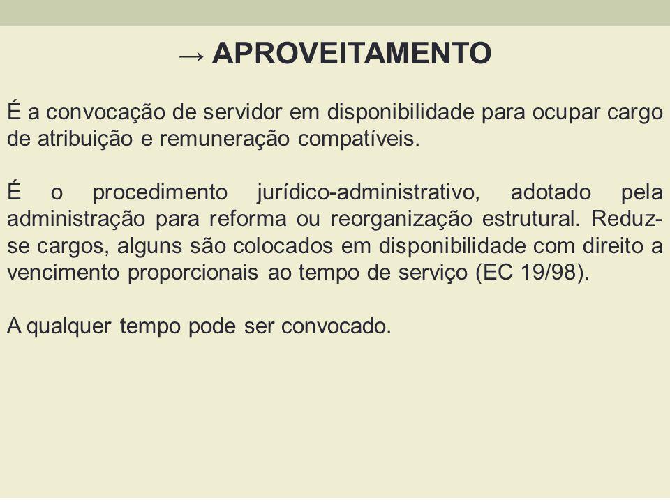 → APROVEITAMENTO É a convocação de servidor em disponibilidade para ocupar cargo de atribuição e remuneração compatíveis.