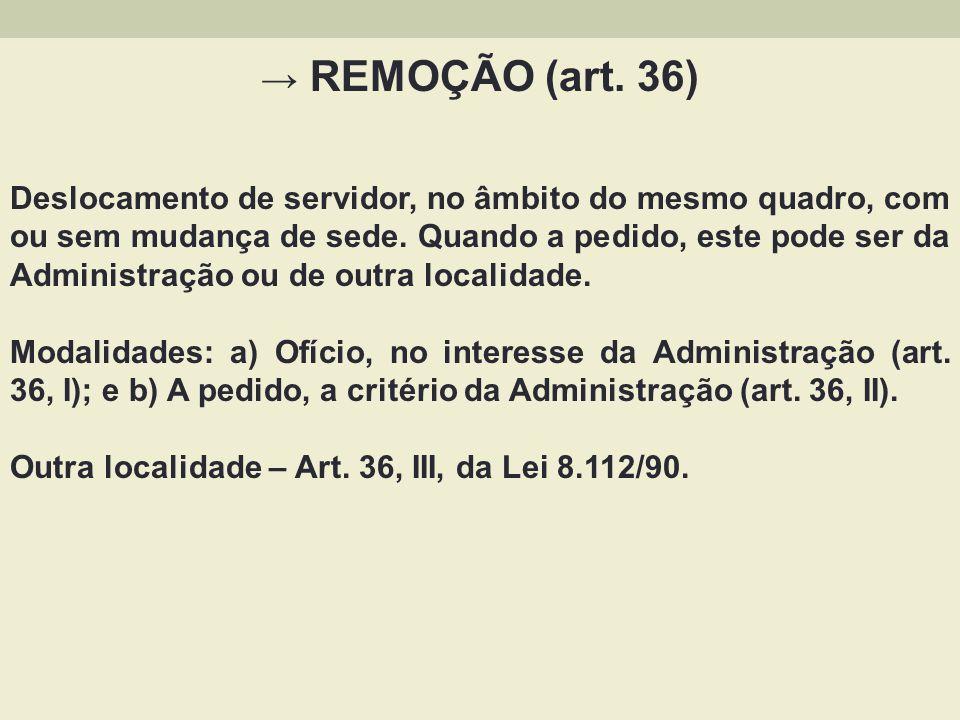→ REMOÇÃO (art. 36)