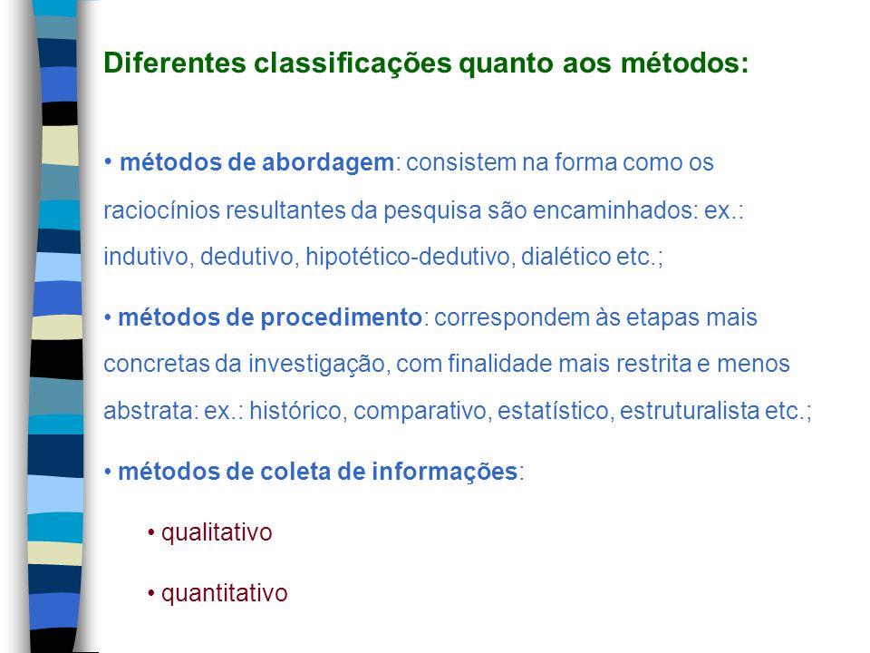 Diferentes classificações quanto aos métodos: