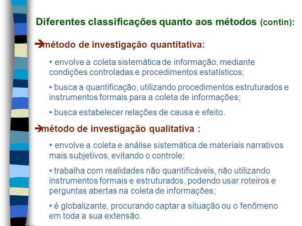 Diferentes classificações quanto aos métodos (contin):