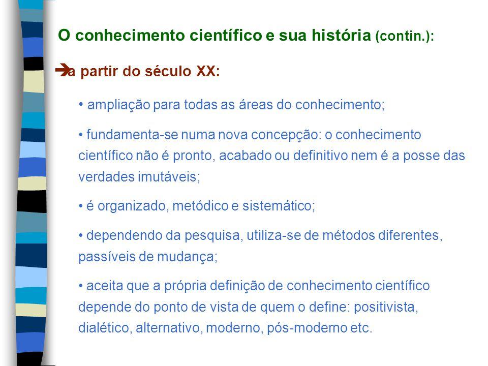 O conhecimento científico e sua história (contin.):