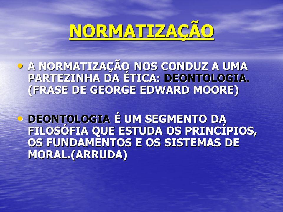 NORMATIZAÇÃO A NORMATIZAÇÃO NOS CONDUZ A UMA PARTEZINHA DA ÉTICA: DEONTOLOGIA. (FRASE DE GEORGE EDWARD MOORE)