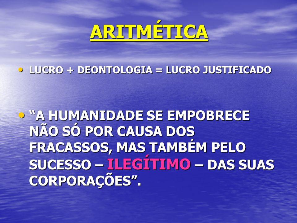 ARITMÉTICA LUCRO + DEONTOLOGIA = LUCRO JUSTIFICADO.