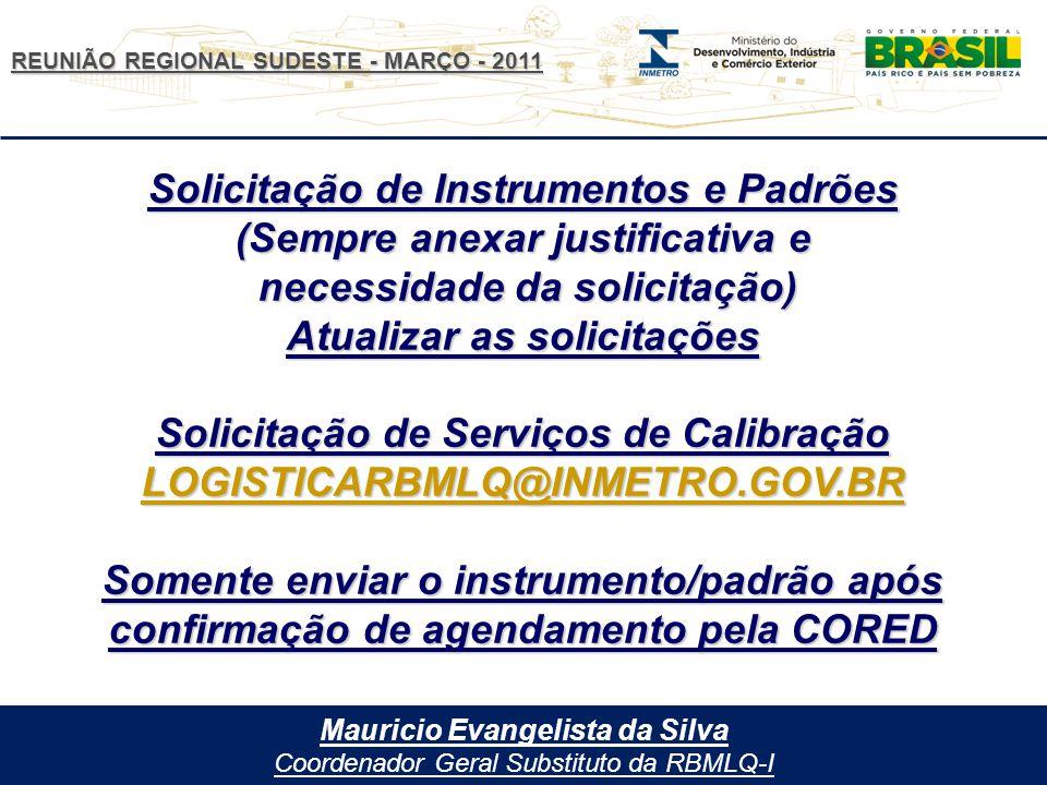 Solicitação de Instrumentos e Padrões (Sempre anexar justificativa e
