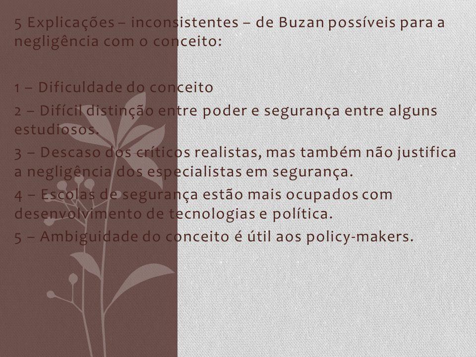 5 Explicações – inconsistentes – de Buzan possíveis para a negligência com o conceito: