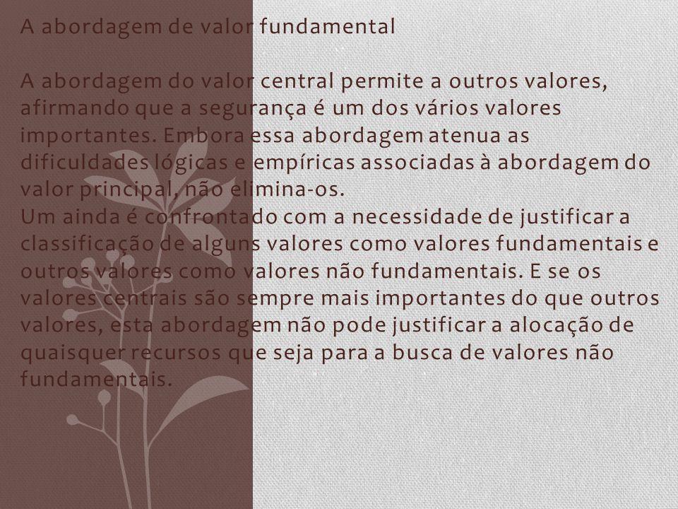 A abordagem de valor fundamental A abordagem do valor central permite a outros valores, afirmando que a segurança é um dos vários valores importantes.