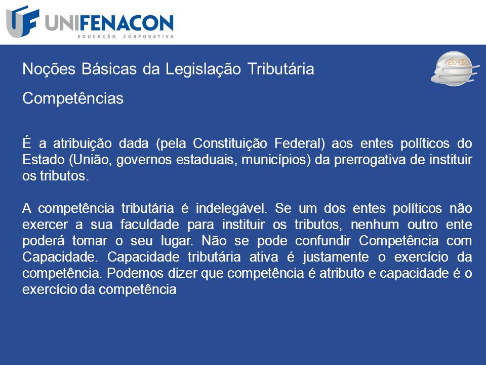 SPED Noções Básicas da Legislação Tributária Competências