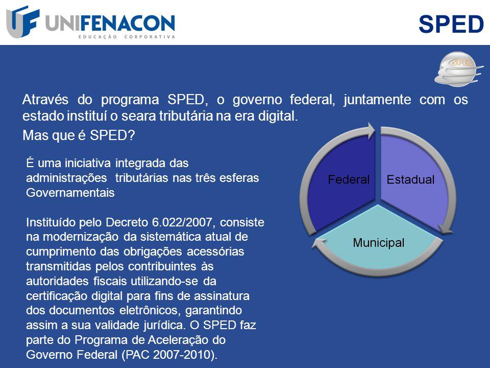 SPED Através do programa SPED, o governo federal, juntamente com os estado instituí o seara tributária na era digital.