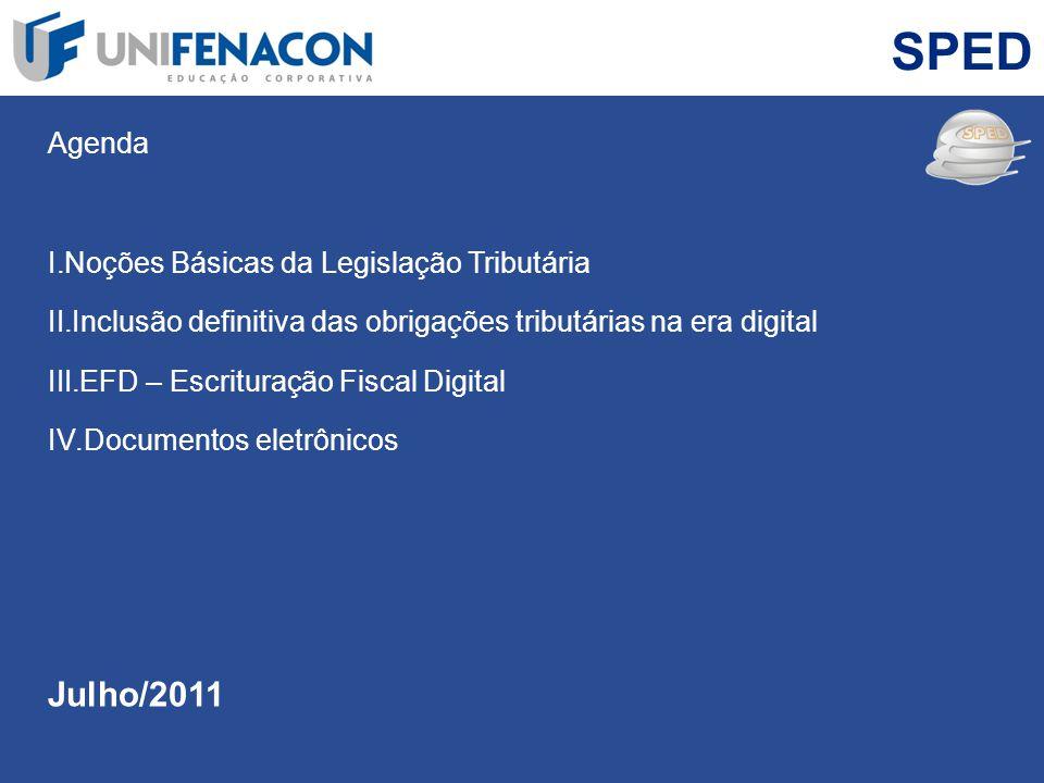 SPED Julho/2011 Agenda Noções Básicas da Legislação Tributária