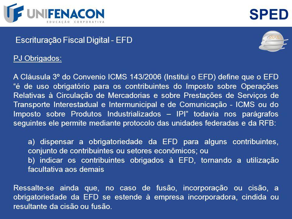 SPED Escrituração Fiscal Digital - EFD. PJ Obrigados: