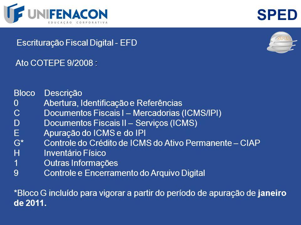 SPED Escrituração Fiscal Digital - EFD Ato COTEPE 9/2008 :