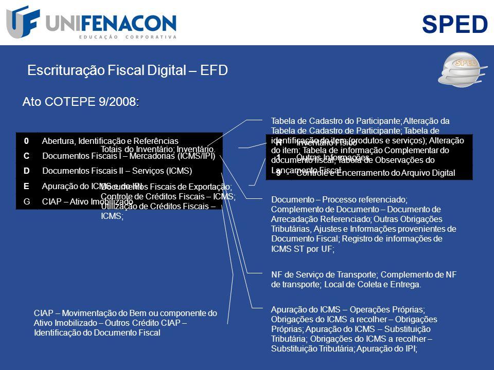 SPED Escrituração Fiscal Digital – EFD Ato COTEPE 9/2008: