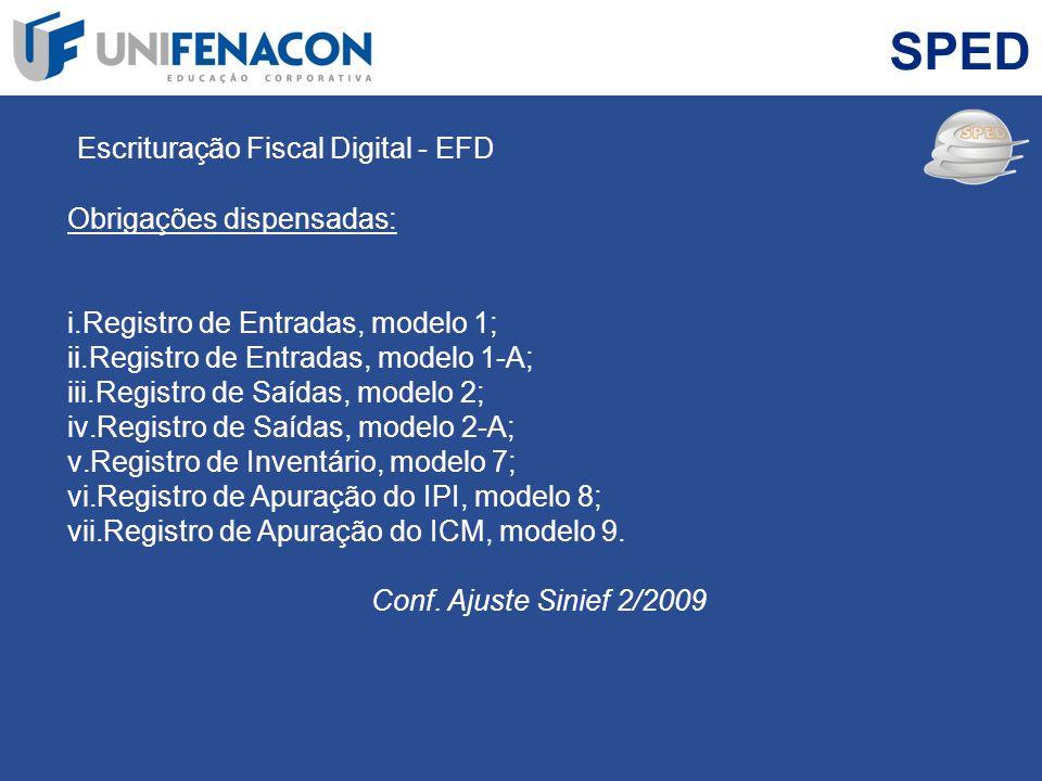 SPED Escrituração Fiscal Digital - EFD Obrigações dispensadas: