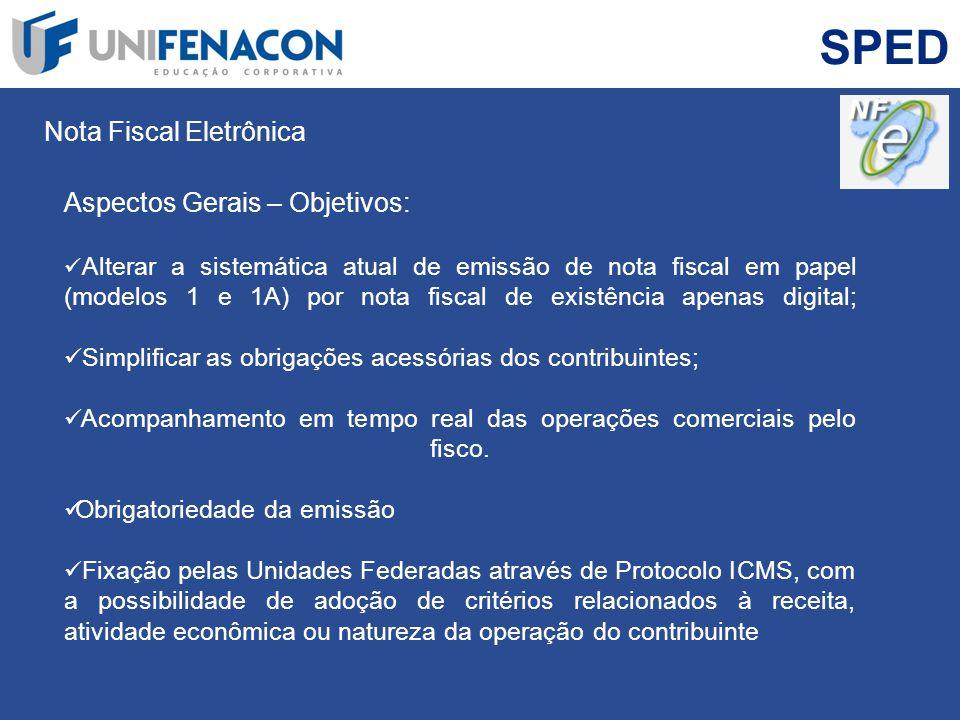 SPED Nota Fiscal Eletrônica Aspectos Gerais – Objetivos: