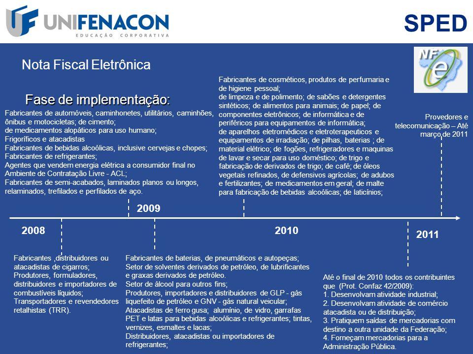 SPED Nota Fiscal Eletrônica Fase de implementação: 2009 2008 2010 2011
