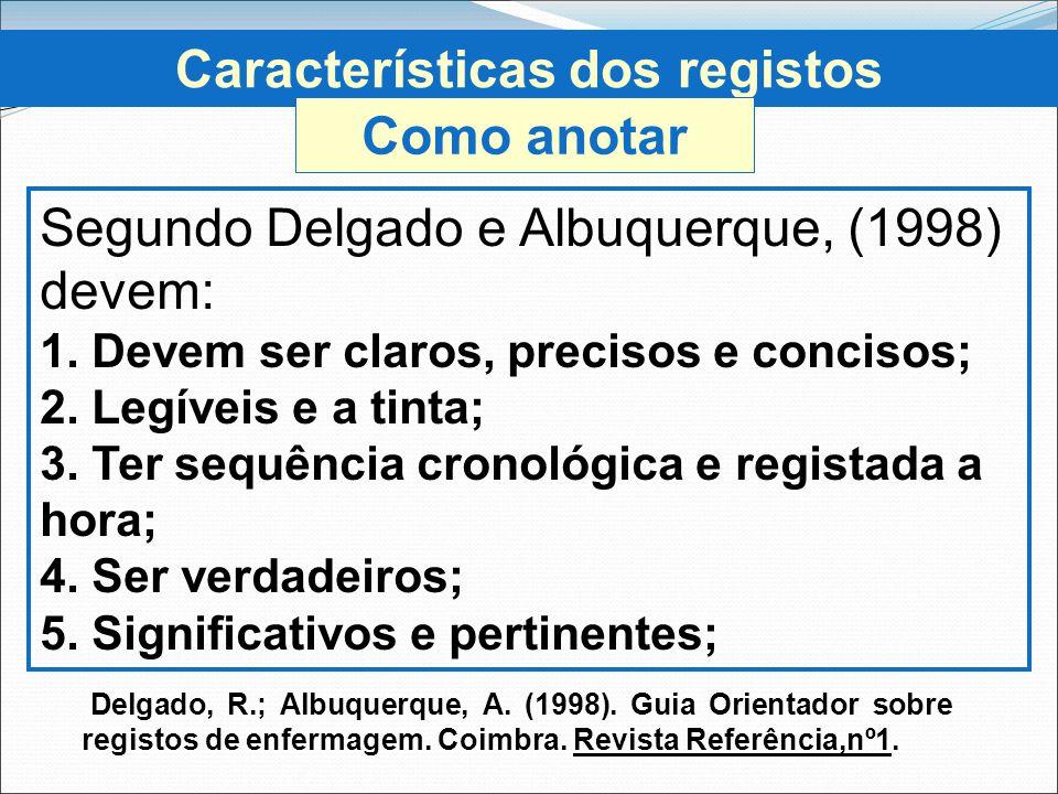 Características dos registos