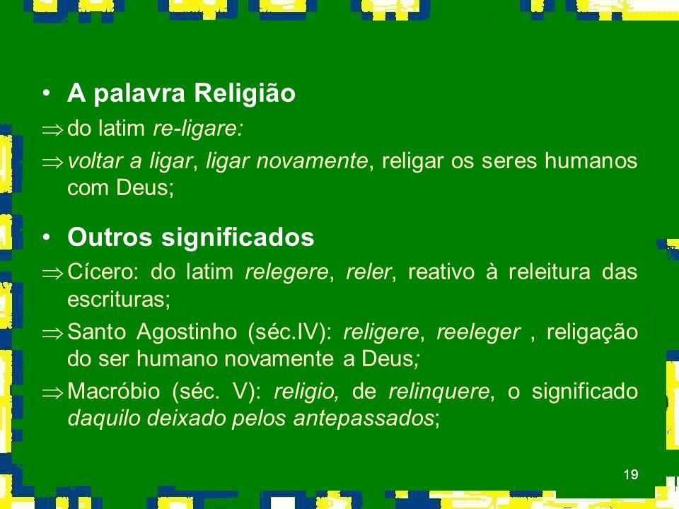 A palavra Religião Outros significados do latim re-ligare: