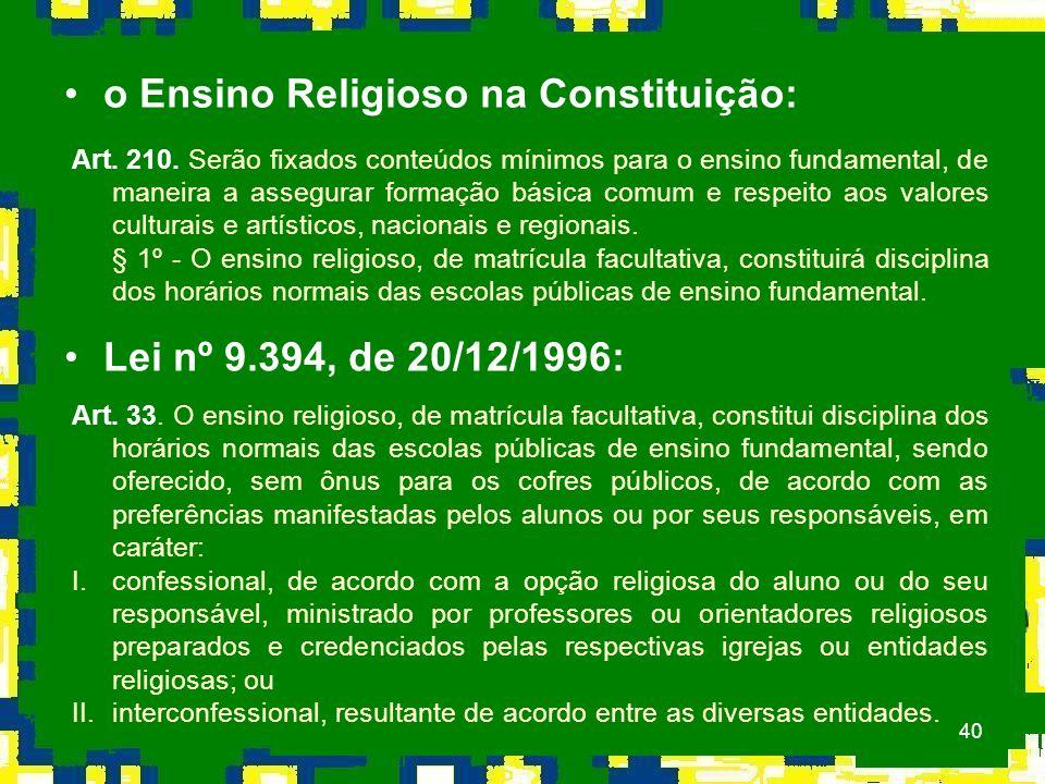 o Ensino Religioso na Constituição: