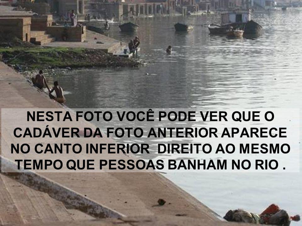 NESTA FOTO VOCÊ PODE VER QUE O CADÁVER DA FOTO ANTERIOR APARECE NO CANTO INFERIOR DIREITO AO MESMO TEMPO QUE PESSOAS BANHAM NO RIO .